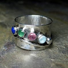 Sterling Silver Mother's Ring with Up to 6 Stones - Family Treasures ...from Lavender Cottage Jewelry