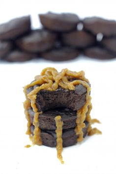 Hidden Veggies' 2 Bite Brownies with a caramel drizzle // via The Healthy Maven