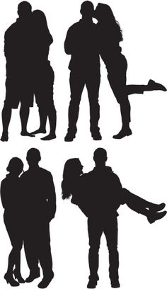 Vectores libres de derechos: Silhouette of couples in love