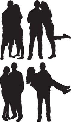 Vectores libres de derechos: Silhouette of couples in love