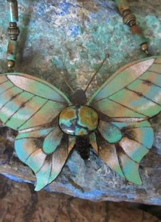 Green Turquoise Gourd Butterfly Necklace | BP Gourds