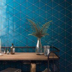 Triangle Wall, Unique Tile, Bad Inspiration, Mosaic Bathroom, Blue Tiles, Handmade Tiles, Tile Design, Electric Blue, Wall Tiles