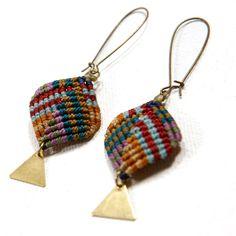 AMiRA:  Diamond Triangle Earrings Multi