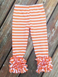 2T - Halloween - Fall - Orange & White Icing Legging - Ruffled Legging
