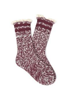 Heathered Crochet-Trim Socks | FOREVER21 - 2000067269