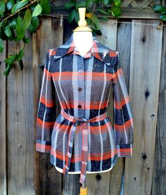 Vintage Jack Winter Shirt Jacket, Orange and Gray Plaid Belted Shirt, Double…