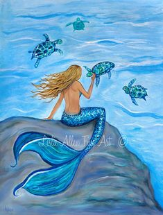 Impresión del arte sirena arte impresión Giclee pared arte