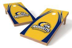 Marquette Golden Eagles Cornhole Board Set - The Edge (w/Bluetooth Speakers)