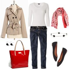 Red, Khaki and Denim, created by bluehydrangea.polyvore.com