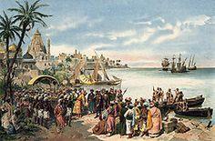 """""""A chegada de Vasco da Gama a Calecute em 1498"""" -  watercolourist  Alfredo Roque Gameiro"""