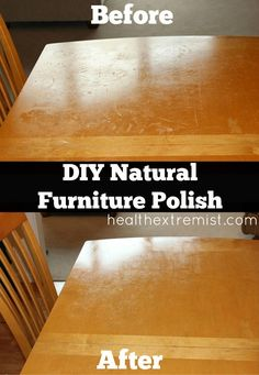 Homemade Furniture Polish~1 part vinegar (apple cider vinegar or white vinegar) 3 parts oil (olive oil or jojoba oil) Optional -add a few drops of lemon. Some like to add it for the aroma and cleaning benefits. Combine ingredients in jar or cup and stir or shake.