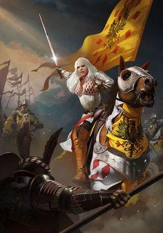 Gwent Contest: Meve by Vadim Simanin Fantasy Warrior, Fantasy Rpg, Medieval Fantasy, Fantasy Artwork, Fantasy World, Dark Fantasy, The Witcher Game, The Witcher Books, Witcher Art