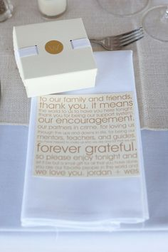 Wedding Thank You to leave under favors on top of napkins! like