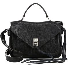 Rebecca Minkoff Darren Small Pebbled Leather Messenger Bag (4 900 ZAR) ❤ liked on Polyvore featuring bags, messenger bags, sac, apparel & accessories, black, envelope clutch, pebbled leather bag, top handle bag, envelope clutch bag and courier bag