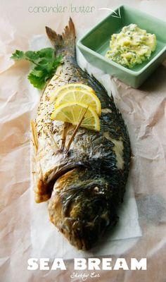 dorada pieczona z masłem kolendrowym sea bream with coriander butter