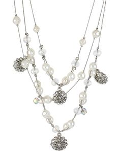 STONE PEARL ILLUSION NECKLACE CRYSTAL accessories jewelry necklaces fashion