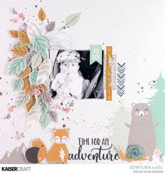 """""""Hide and Seek"""" layered Layout by Jowilna Nolte Design Team member for Kaisercraft Official Blog featuring July 2018 Hide and Seek Collection and CS330 Clear Stamp from the same range. To learn more about Jowilna's layout and a special tip she shares go to the blog at kaisercraft.com.au ~ Wendy Schultz ~ Kaisercraft Projects."""