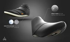 Biking shoe, filling the gap in bike commuting cities like Portland, London and Vancouver. Ripstop cover for flash storms..