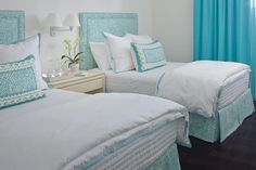 Emma Cape Cod stunning turquoise twin beds with zebra print fabric china seas fabric