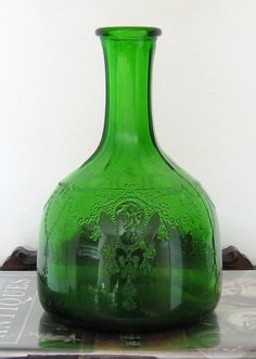 Antique Green Depression Glass White House Vinegar Bottle only at Moseley & Stokes, $17.95