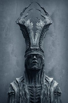 """Mysterious Sculpture 2 B"" by Tomasz Strzalkowski Arte Horror, Horror Art, Dark Fantasy Art, Dark Art, Arte Obscura, Creepy Art, Creature Design, Skull Art, Zbrush"