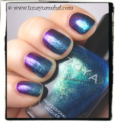 Glitter Gradient I tried to re-create from The Mercurial Magpie blog. I used Butter London HRH & Zoya Charla.