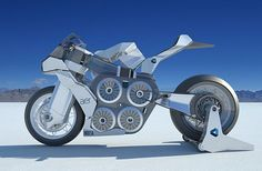 Side View of AER concept racing motorcycle is powered by four electric motors