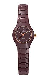Skagen Ceramic Bracelet Brown Dial WomensPolished rose gold tone sword hands and also sweep seconds, Genuine Swarovski crystal hour markers