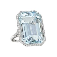 Emerald-Cut Aquamarine & Diamond Cocktail Ring