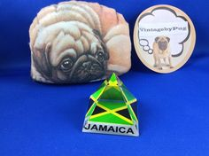Vintage Crystal Pyramid Paperweight with Jamaican Flag