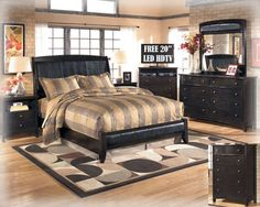 """FREE 20"""" LED HDTV With This Upholstered Faux Leather 6PC Contemporary Bedroom Package 