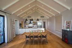 Clutha River House by Chaney & Norman Architects Timber Pergola, Timber Shelves, Cedar Cladding, Stone Chimney, White Subway Tiles, Light And Space, Timber Flooring, River House, Simple Elegance