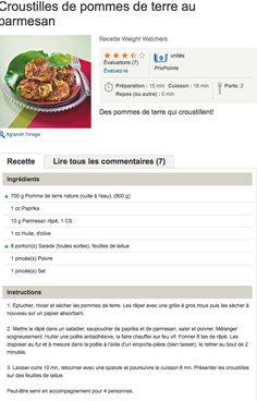 recette WW Croustilles de pommes de terre au parmesan