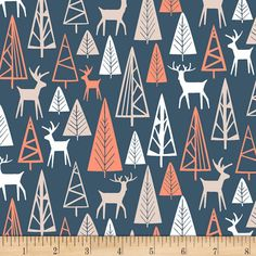Dear Stella The Big Chill Nighttime Gander Navy from @fabricdotcom Designed by Dear Stella, this cotton print is perfect for apparel, quilting and home decor accents. Colors include navy, coral, grey and white.