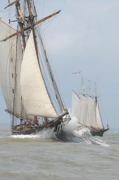 Pride of Baltimore II, left, and the three masted schooner Alliance, right, sail out the Savannah River shipping channel past Tybee Island on the first leg of the Tall Ships Challenge.Photo by John Carrington. Old Sailing Ships, Classic Sailing, Wooden Ship, Yacht Boat, Sail Away, Set Sail, Am Meer, Wooden Boats, Tall Ships