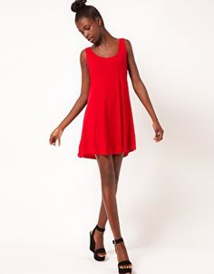 American Apparel Red Swing Dress
