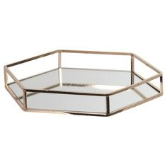 Gold Hexagonal Metal Mirror Tray