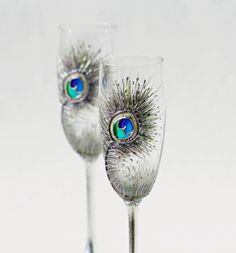 Hand painted peacock feather champagne flutes!