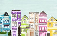 Colorful Bright Victorian Houses Large Illustration by annasee, $30.00