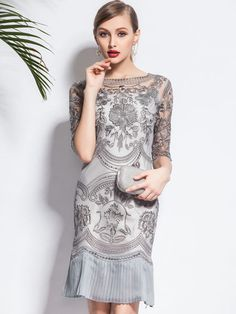 9813b01cc0 art deco circle design Gray Floral Half Sleeve Pleated Two Piece Midi Dress