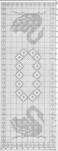 grill-chemin-de-table-et-ses-cygnes. Crochet Dollies, Crochet Birds, Crochet Doily Patterns, Crochet Cross, Crochet Home, Thread Crochet, Crochet Designs, Crochet Stitches, Knit Crochet