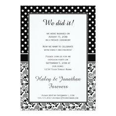 Polka Dot Wedding Reception Black White Polka Dots over Paisley Reception Only Card