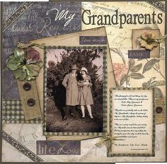 My Grandparents ~ Striking heritage page with a great mix of vintage patterned papers, burlap and buttons.