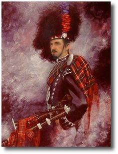 Acrylic on panel portrait of a piper of the 1st Battalion Scots Guards, by Donna Neary.