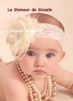 Vintage Lux Ivory and Cream Handmade Flower Headband, Feathers, Handrolled silk rosettes, pearls, Crystals veiling via Etsy by daphne My Baby Girl, Baby Pictures, Baby Photos, Cute Babies, Baby Kids, Baby Girl Headbands, Baby Month By Month, Handmade Flowers, Newborn Photos