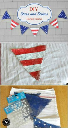 Create this Stars and Stripes Burlap Banner with just a few simple  supplies 47ae3aac5787