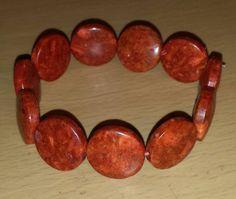 "Orange Disc Stretch Bracelet 7 1/2"" $10"