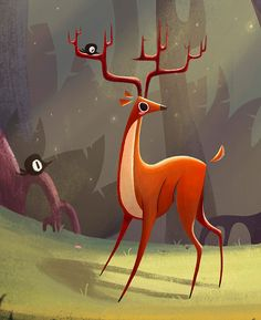 Wonderful use of texture Deer by Ashley Odell
