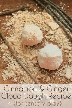 Cinnamon & Ginger cloud dough or moon dough for sensory play