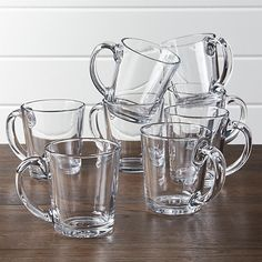 Tempo Clear Glass Coffee Mug Set of 8 | Crate and Barrel